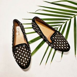 J. Crew Black Suede Studded Loafers Women's 6.5
